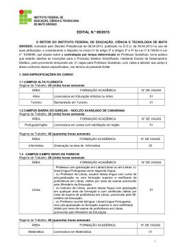 Abertura Edital - IFMT - 2015