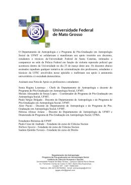 Nota de Apoio UFMT - Universidade Federal de Santa Catarina