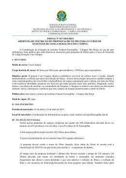 Abertura de inscrição de propostas de filmes para o curso de