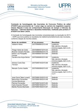 Comissão de homologação das Inscrições do