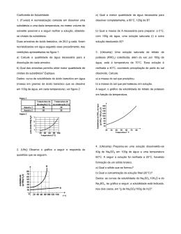 Coeficiente de Solubilidade 1. (Fuvest) A recristalização consiste
