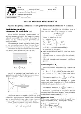 Lista de exercícios de Química nº 10