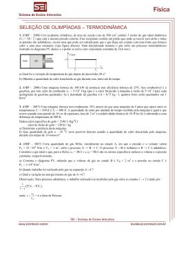 SELEÇÃO DE OLIMPÍADAS – TERMODINÂMICA