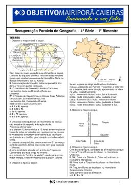 Recuperação Paralela de Geografia – 1ª Série – 1º Bimestre
