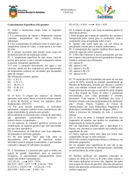 Conhecimentos Específicos (10) questões 01. Sobre a homeostase