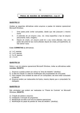 QUESTÃO 21 Analise as seguintes afirmativas