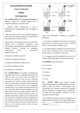 LISTA DE EXERCÍCIOS III (Pré-ENEM) Supletivo São Benedito