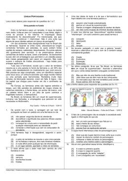 Leia o texto abaixo para responder às questões de 1
