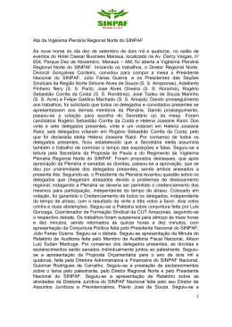 Ata da Vigésima Plenária Regional Norte do SINPAF Às nove horas