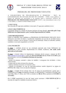 EDITAL Nº 1/2013 PARA BOLSA NÍVEL III PROFESSOR VISITANTE