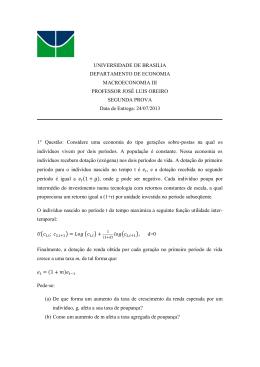 UNIVERSIDADE DE BRASILIA DEPARTAMENTO DE ECONOMIA