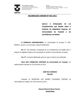 DELIBERAÇÃO CONSUNI Nº 001/2011 Aprova o