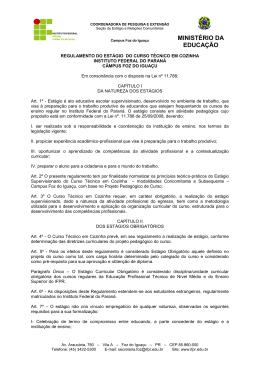 Regulamento Estágio Cozinha - IFPR – Campus Foz do Iguaçu