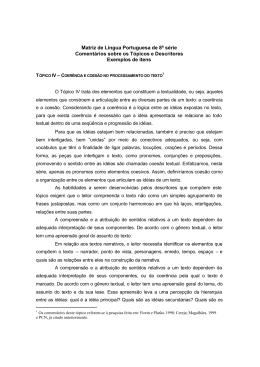 Tópico IV. Coerência e Coesão no Processamento do Texto