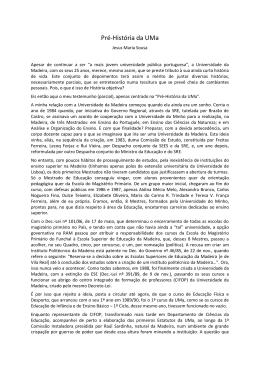 Pré-História da UMa - Universidade da Madeira