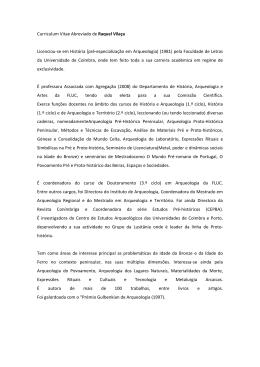 Curriculum Vitae Abreviado de Raquel Vilaça Licenciou