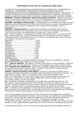 CONVENÇÃO COLETIVA DE TRABALHO 2000/2001