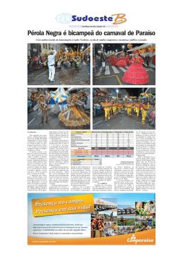 Pérola Negra é bicampeã do carnaval de Paraíso