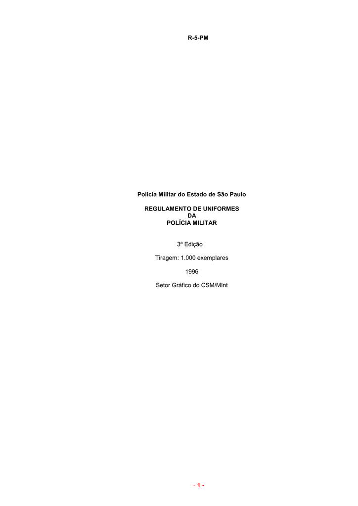 8618c67a1 1- Regulamento de Uniforme da PMESP - R-5