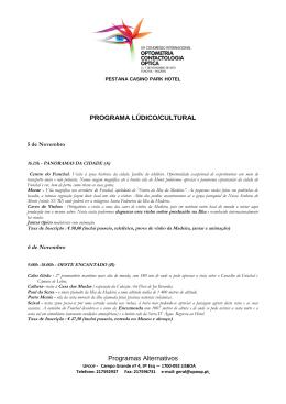 PROGRAMA LÚDICO/CULTURAL Programas Alternativos