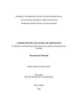 A TEORIA POLÍTICA DA JUSTIÇA DE JOHN RAWLS: Em direção a