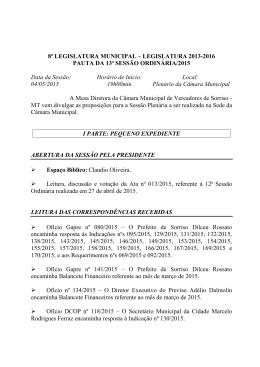 8ª LEGISLATURA MUNICIPAL - Câmara Municipal de Sorriso