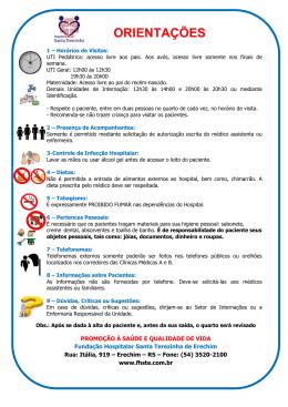 Orientações Gerais - Fundação Hospitalar Santa Terezinha