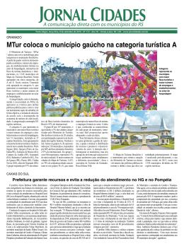 MTur coloca o município gaúcho na categoria turística A