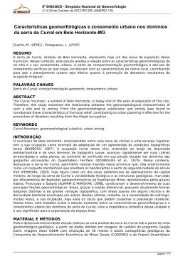 9º SINAGEO - Simpósio Nacional de Geomorfologia