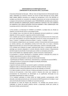 DEPARTAMENTO DE ALIMENTAÇÃO ESCOLAR COMUNICADO