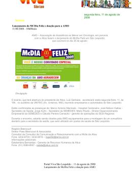 Lançamento do McDia Feliz e doação para a AMO