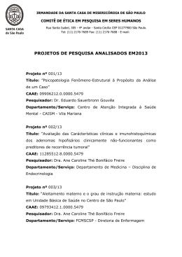 PROJETOS DE PESQUISA ANALISADOS EM2013