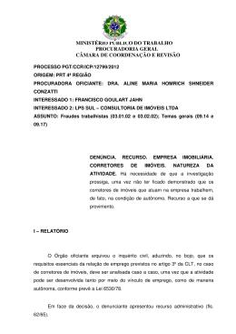 Processo PGT/CCR/nº 12799/2012 - Ministério Público do Trabalho