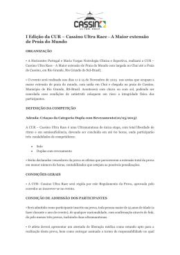 I Edição da CUR – Cassino Ultra Race
