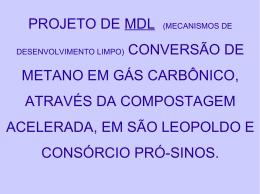 projeto de mdl (mecanismos de metano em gás carbônico, através