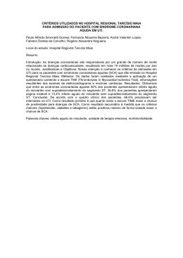 Critérios Utilizados No Hospital Regional Tarcísio Maia Para