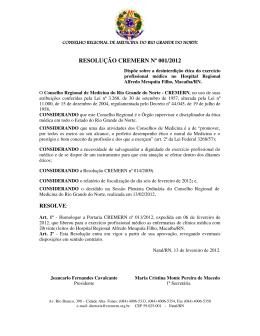 resolução cremern nº 001/2012 - Conselho Federal de Medicina