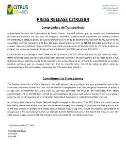PRESS RELEASE CITRUSBR Compromisso de Transparência