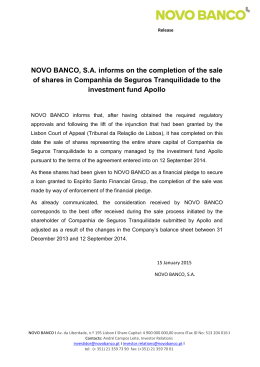 NOVO BANCO, S.A. informs on the completion of the sale of