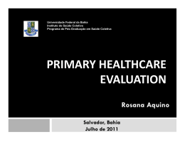 PRIMARY HEALTHCARE EVALUATION