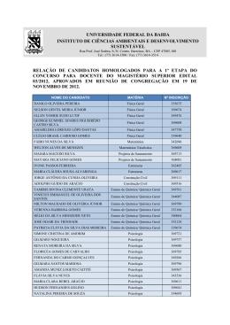 1ª Etapa - Concursos - Universidade Federal da Bahia