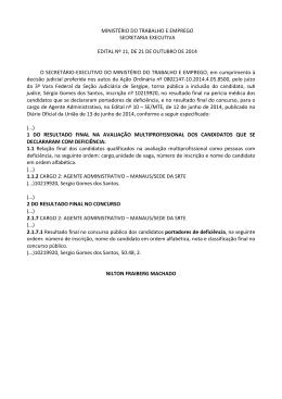 Edital nº 11-2014-SE-MTE- SERGIO GOMES DOS SANTOS