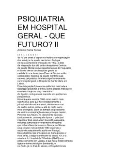 PSIQUIATRIA EM HOSPITAL GERAL