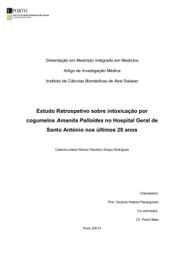 Intoxicação por cogumelos Amanita Palloides no Hospital Geral