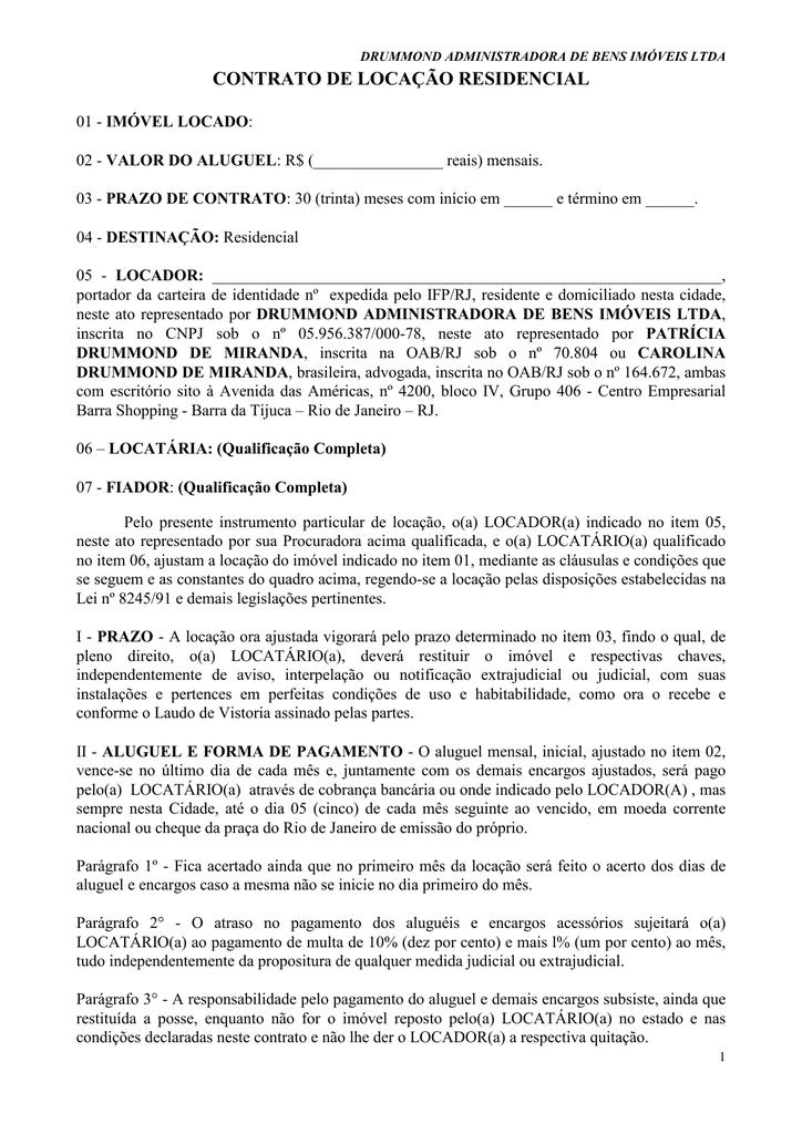 Modelo De Contrato Locação Residencial 2013