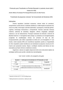 Protocolo para Transfusão no Período Neonatal e