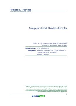 Doador e Receptor - Sociedade Brasileira de Nefrologia