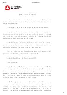 PROJETO DE LEI Nº 24/2007 Dispõe sobre a obrigatoriedade do