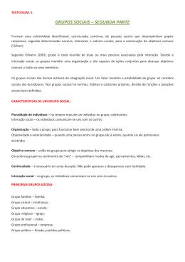 GRUPOS SOCIAIS – SEGUNDA PARTE