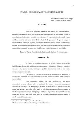 CULTURA E COMPORTAMENTO ANTE ENFERMIDADE